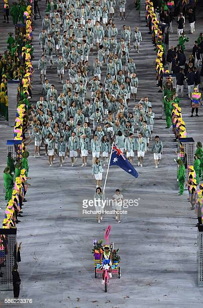 Anna Meares of Australia leads out her country during the Opening Ceremony of the Rio 2016 Olympic Games at Maracana Stadium on August 5 2016 in Rio...