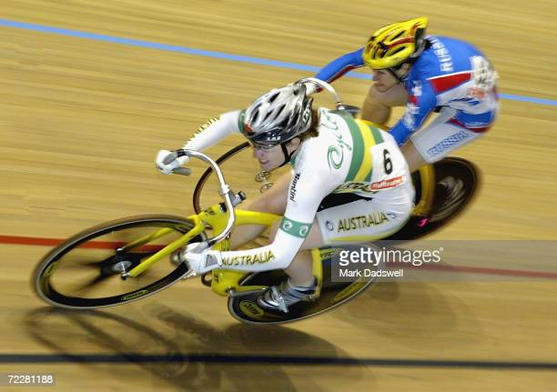 Anna Meares of Australia leads Svetlana Grankovskaya of Russia in the final of the Women's Sprint during the 2004 UCI Track Cycling World...