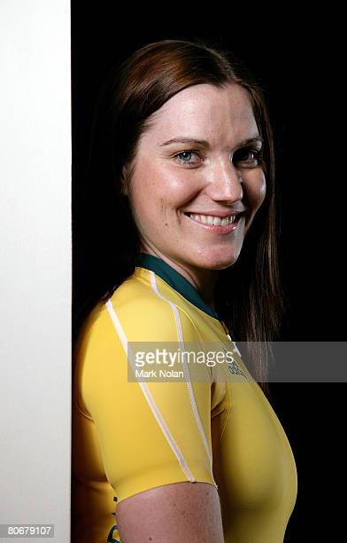 Anna Meares of Australia poses for a portrait during the Australian Olympic competition uniform launch at Luna Park April 14 2008 in Sydney Australia