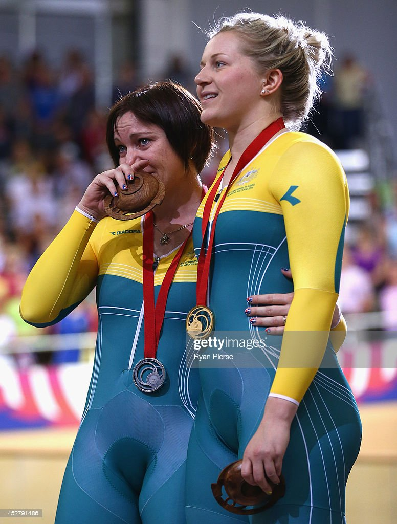 Anna Meares of Australia reacts on the podium after she was defeated by Stephanie Morton of Australia in the Women's Sprint Final at Sir Chris Hoy Velodrome during day four of the Glasgow 2014 Commonwealth Games on July 27, 2014 in Glasgow, United Kingdom.