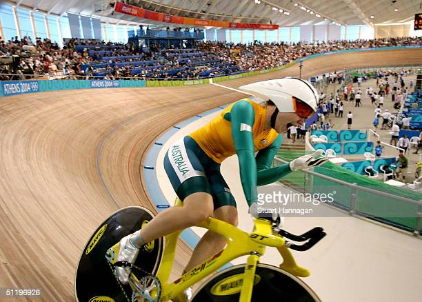 Anna Meares of Australia set a new Olympic and World record time on the way to wiinning the gold medal in the women's track cycling 500 metre time...