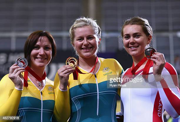 Anna Meares of Australia Stephanie Morton of Australia and Jess Varnish of England pose with their medals after the Women's Sprint Final at Sir Chris...