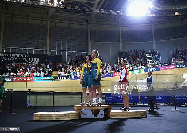 Anna Meares of Australia Stephanie Morton of Australia and Jess Varnish of England stand on the podium after the Women's Sprint Final at Sir Chris...