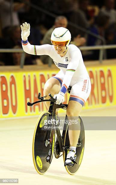 Anna Meares of Australia waves to the crowd after winning the Women's 500m Time Trial on Day One of the UCI Track Cycling World Championships at the...