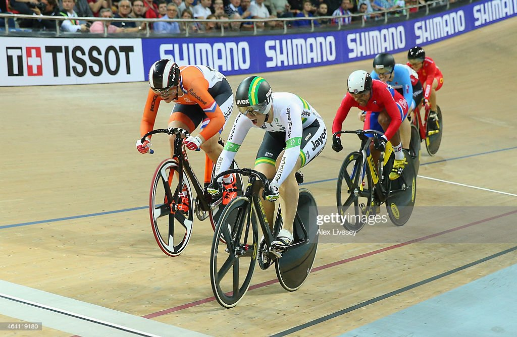 Anna Meares of Australia wins gold ahead of Shanne Braspennincx of Netherlands (silver) and Lisandra Guerra of Cuba (bronze) in the Women's Keirin Final during Day Five of the UCI Track Cycling World Championships at the National Velodrome on February 22, 2015 in Paris, France.
