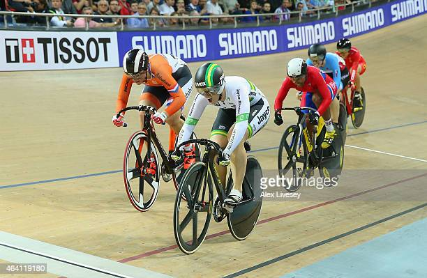 Anna Meares of Australia wins gold ahead of Shanne Braspennincx of Netherlands and Lisandra Guerra of Cuba in the Women's Keirin Final during Day...