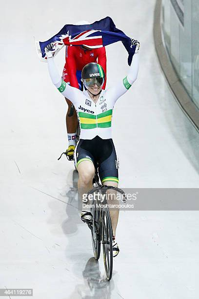 Anna Mears of Australia celebrates after she wins the gold medal in the Women's Keirin Race during day 5 of the UCI Track Cycling World Championships...