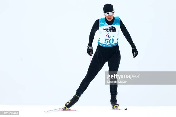 Anna Milenina of Neutral Paralympic Athlete competes in the Women's 125 km Standing Biathlon at Alpensia Biathlon Centre on Day 7 of the PyeongChang...