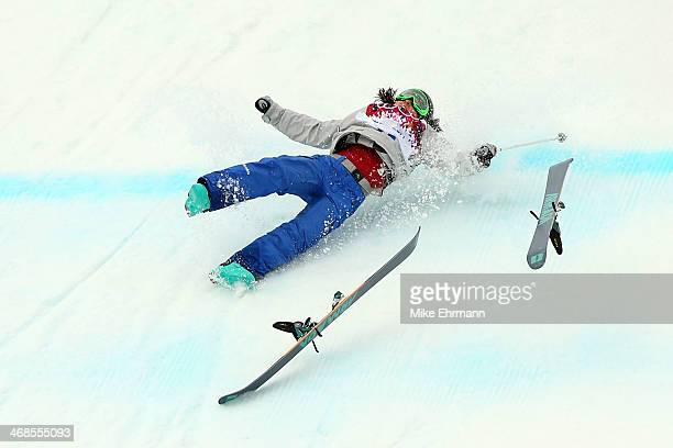 Anna Mirtova of Russia falls while competing in the Freestyle Skiing Women's Ski Slopestyle Qualification on day four of the Sochi 2014 Winter...