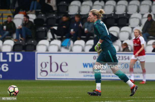 Anna Moorhouse of Arsenal during SSE Women's FA Cup quarter_final match between Arsenal against Charlton Athletic Women at Meadow Park Borehamwood FC...