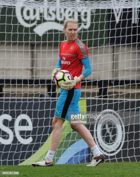 Anna Moorhouse of Arsenal warms up before the match between Arsenal Ladies and Tottenham Hotspur Ladies on March 19 2017 in Borehamwood England