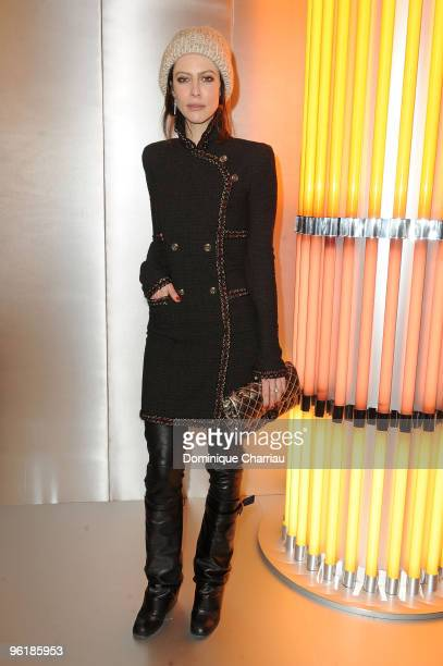 Anna Mouglalis arrives at the Chanel HauteCouture show as part of the Paris Fashion Week Spring/Summer 2010 at Pavillon Cambon Capucines on January...