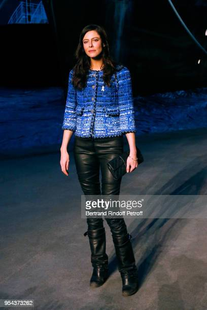 Anna Mouglalis attends the Chanel Cruise 2018/2019 Collection Photocall at Le Grand Palais on May 3 2018 in Paris France
