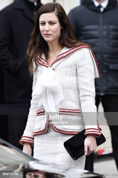 Anna Mouglalis is seen arriving at Chanel Fashion show during Paris Fashion Week Haute Couture Spring/Summer 2018 on January 23 2018 in Paris France