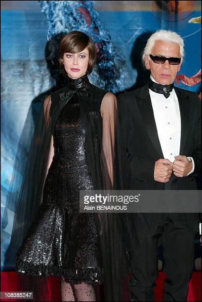 Anna Mouglalis Karl Lagerfeld in Monaco on December 14 2002