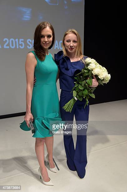 Anna Mucha and Justyna Zmijewska attends MercedesBenz Fashion Week on May 16 2015 at Soho Factory in Warsaw Poland