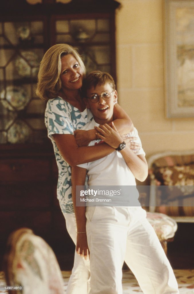 Anna Murdoch, nee Torv, wife of media mogul Rupert Murdoch, with their son James Murdoch, New York City, 1985.