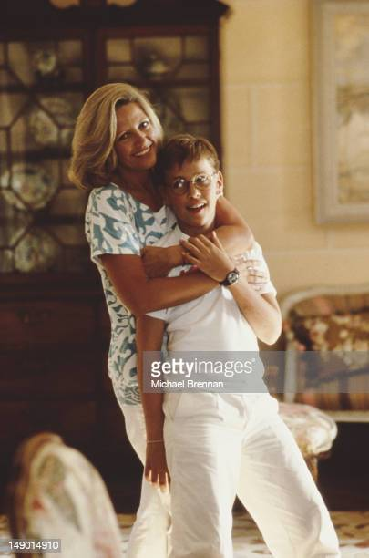 Anna Murdoch nee Torv wife of media mogul Rupert Murdoch with their son James Murdoch New York City 1985