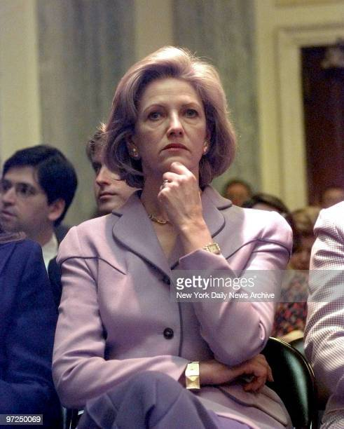 Anna Murdoch wife of media mogul Rupert Murdoch Chairman and CEO of News Corp listening as he testified at a Senate Commerce Science and...
