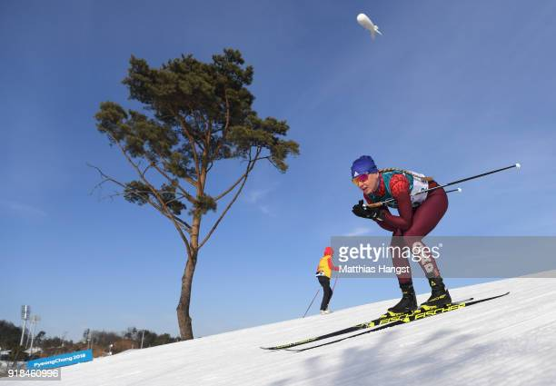 Anna Nechaevskaya of Olympic Athlete from Russia skis during the CrossCountry Skiing Ladies' 10 km Free on day six of the PyeongChang 2018 Winter...