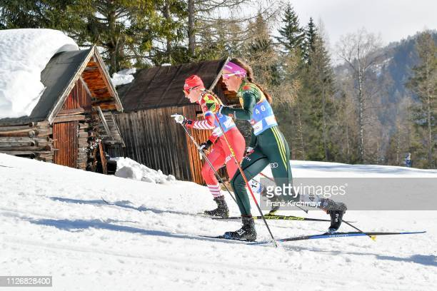Anna Nechaevskaya of Russia and Sofie Krehl of Germany during the Women's Cross Country Skiathlon at the FIS Nordic World Ski Championships at...