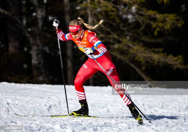Anna Nechaevskaya of Russia competes in the Women's 4x5km Cross Country relay during the FIS Nordic World Ski Championships on February 28 2019 in...