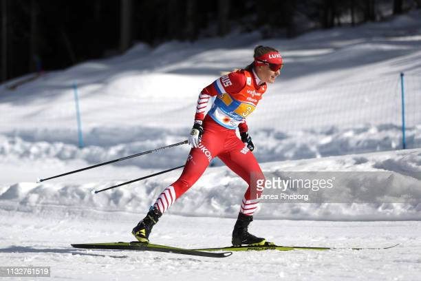 Anna Nechaevskaya of Russia during the 4x5km Women's Cross Country Relay at the FIS Nordic World Ski Championships on February 28 2019 in Seefeld...