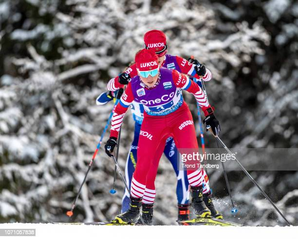 Anna Nechaevskaya of Russia during WC Cross Country Ladies 4 x 5 km Relay at Beitostoelen Ski Stadion on December 9 2018 in Beitostoelen Norway