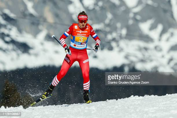 Anna Nechaevskaya of Russia takes 3rd place during the FIS Nordic World Ski Championships Women's Cross Country Relay on February 28 2019 in Seefeld...