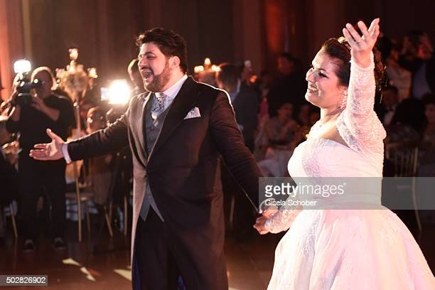 Anna Netrebko and Yusif Eyvazov after their wedding dance at their wedding at Palais Liechtenstein on December 29 2015 in Vienna Austria