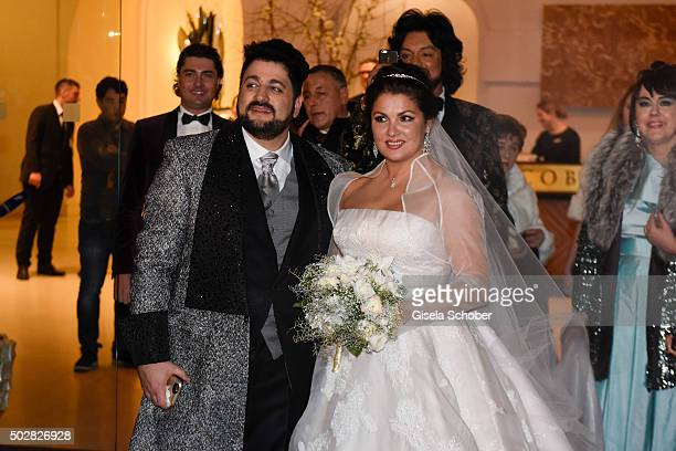 Anna Netrebko and Yusif Eyvazov during their wedding at Palais Coburg on December 29 2015 in Vienna Austria