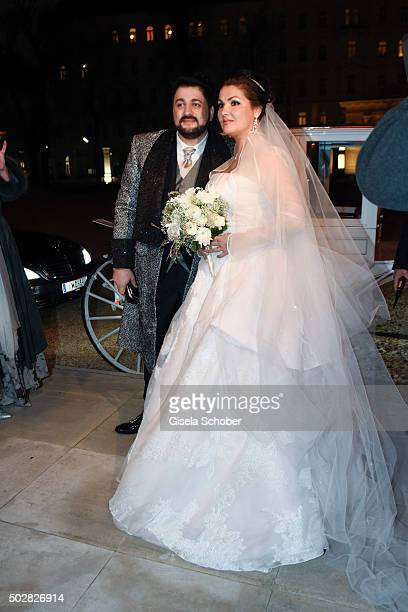 Anna Netrebko and Yusif Eyvazov during their wedding at Palais Liechtenstein on December 29 2015 in Vienna Austria