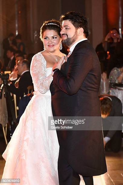 Anna Netrebko and Yusif Eyvazov during their wedding dance at their wedding at Palais Liechtenstein on December 29 2015 in Vienna Austria