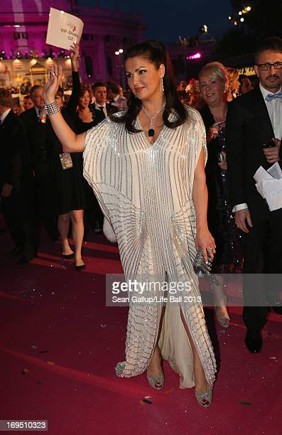 Anna Netrebko arrives on the Magenta Carpet at the 2013 Life Ball at City Hall on May 25 2013 in Vienna Austria
