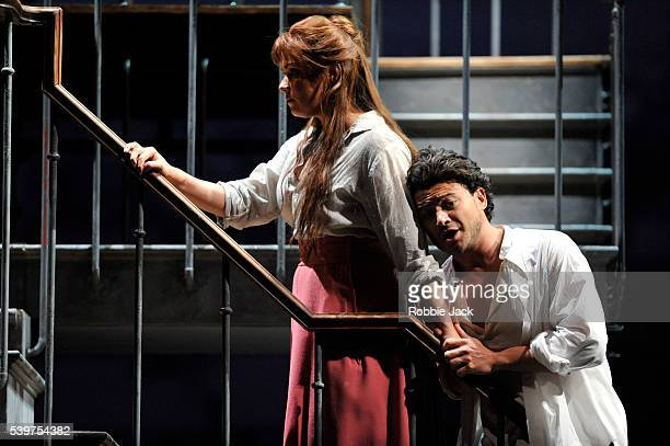 Anna Netrebko as Manon Lescaut and Vittorio Grigolo as Chevalier des Grieux in the Royal Opera's production of Jules Massenet's Manon directed by...