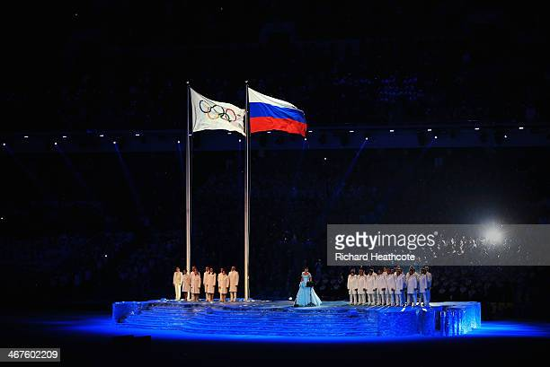 Anna Netrebko performs during the Opening Ceremony of the Sochi 2014 Winter Olympics at Fisht Olympic Stadium on February 7 2014 in Sochi Russia
