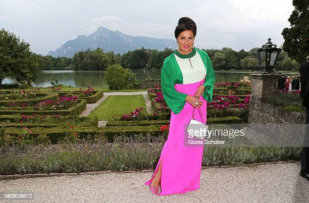 Anna Netrebko wearing a dress by Emilio Pucci during the ISA gala at Schloss Leopoldskron on July 27 2016 in Salzburg Austria