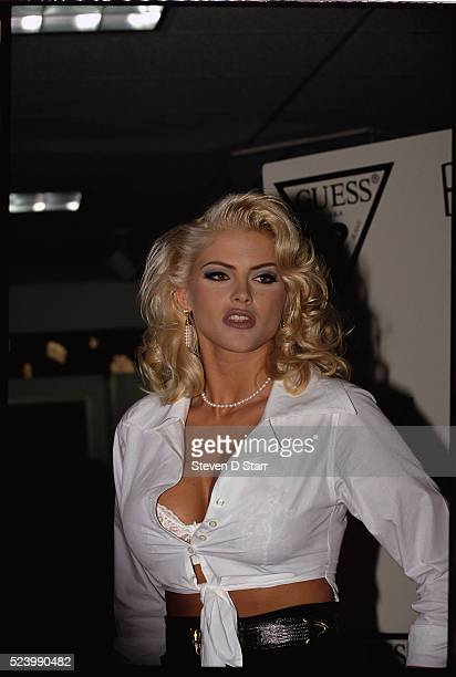 Anna Nicole Smith after just having been announced a Guess jeans fashion model