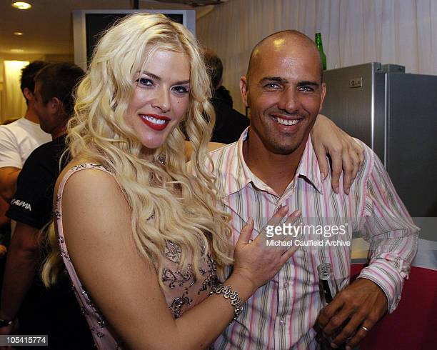 Anna Nicole Smith and Kelly Slater during 2005 MTV Australia Video Music Awards After Party at Crystal Palace Luna Park in Sydney New South Wales...
