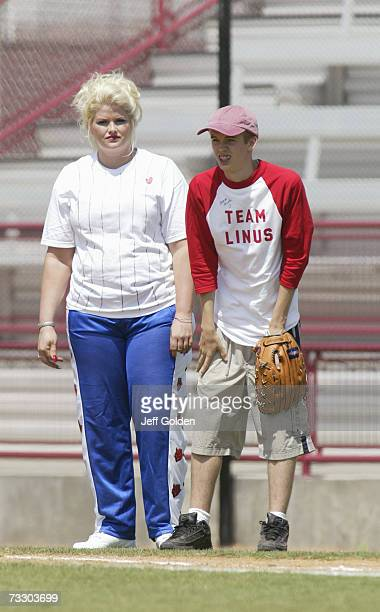 Anna Nicole Smith and son Daniel Wayne Smith participate in a charity softball game on June 30 2002 at Dedeaux Field in Los Angeles California