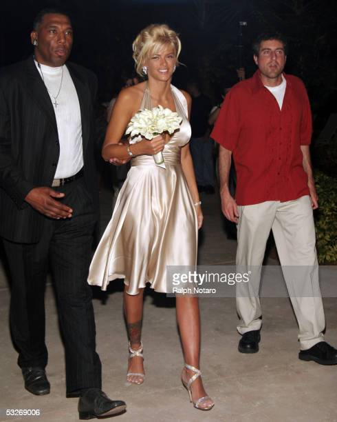 Anna Nicole Smith arrives for a wedding as the Maid of Honor for Penny and Joseph Genovese as they renew their wedding vows poolside at the Seminole...