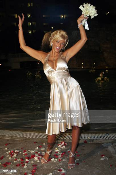 Anna Nicole Smith attends a wedding as the Maid of Honor for Penny and Joseph Genovese as they renew their wedding vows poolside at the Seminole Hard...