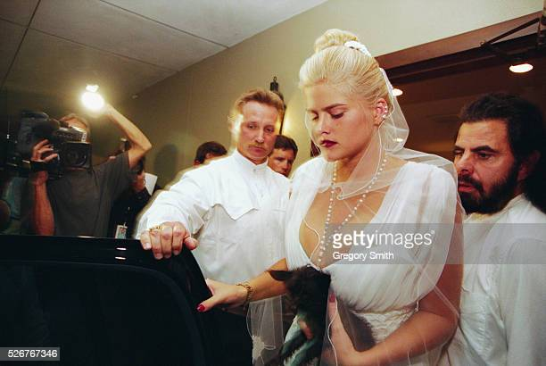 Anna Nicole Smith attends the memorial service for her husband J Howard Marshall who died at age 90 The memorial takes place on August 8 in Houston...