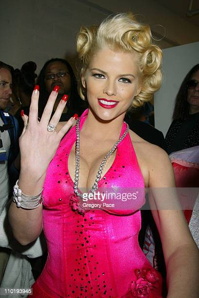 Anna Nicole Smith backstage wearing Heatherette and jewels by Jacob The Jeweler