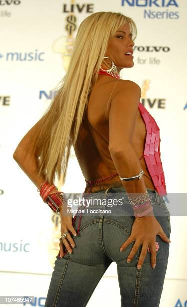 Anna Nicole Smith during LIVE 8 Philadelphia Press Room at Philadelphia Museum of Art in Philadelphia Pennsylvania United States