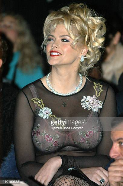 Anna Nicole Smith during Olympus Fashion Week Fall 2004 Betsey Johnson Front Row at Irving Plaza in New York City New York United States
