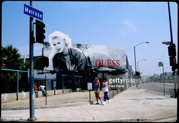 Anna Nicole Smith features on a Guess advertisement on Melrose Avenue August 8 1993 West Hollywood Los Angeles California n