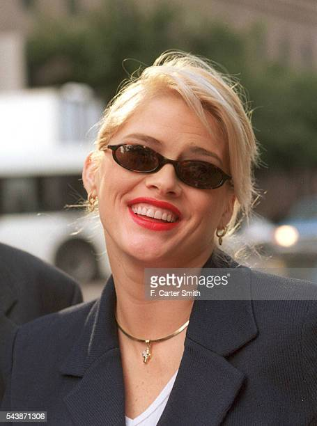Anna Nicole Smith leaves the Harris County Courthouse after the first day of Jury selection in the probate trial of the estate of her late husband J...