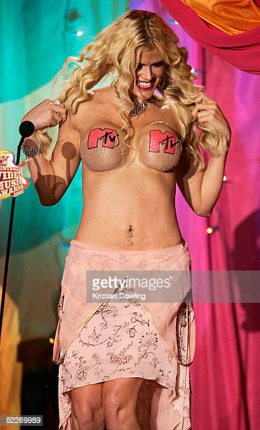 Anna Nicole Smith on stage at the inaugural MTV Australia Video Music Awards at Luna Park on March 3, 2005 in Sydney, Australia.