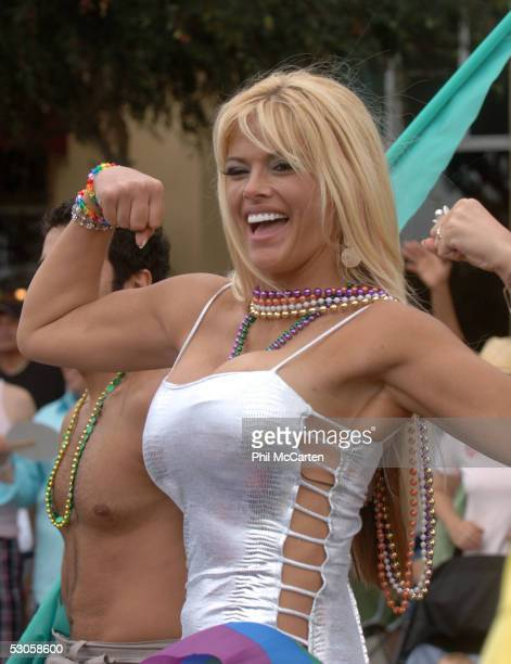 Anna Nicole Smith rides at the 2005 West Hollywood Gay Pride Parade June 12 2005 in Los Angeles California